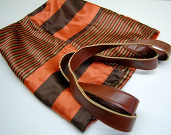 Lined Fabric Tote - Orange, Brown, and Green Striped Silk - Tan Faux Leather - Preppy Stripes - Stylish Tote - Beach Bag