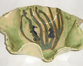 Seahorses and Eel Grass Large Stoneware Bowl Hand Painted Glazes