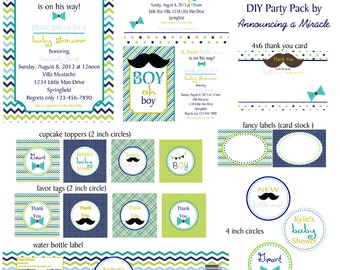 Little Man Baby Shower Party Pack - Print Your Own