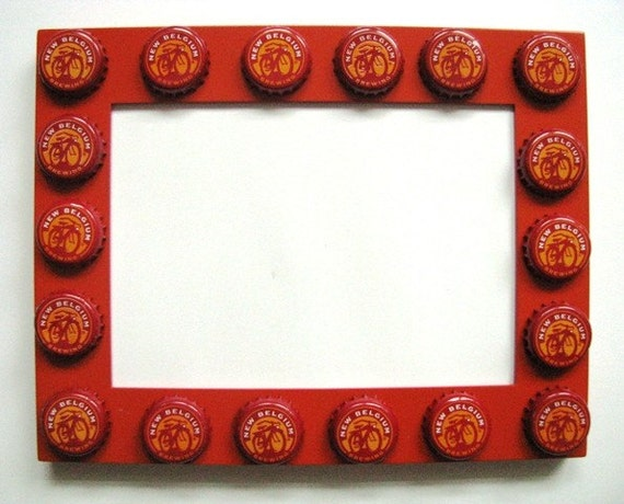 bicycle beer bottle cap picture frame by poptopart on etsy