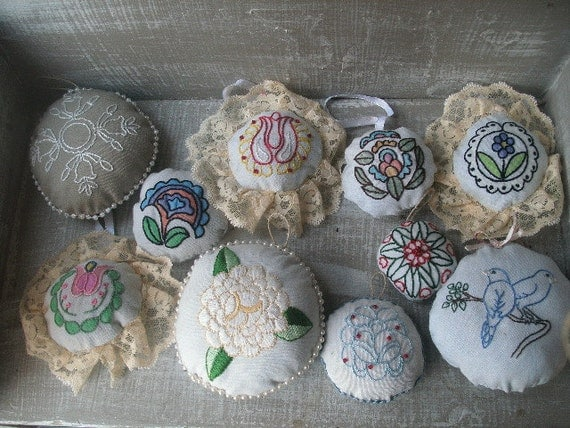 Closing Shop Sale-Embroidered Ornaments Set of 10