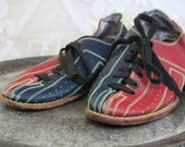 Super awesome red white and blue BOWLING SHOES with bright yellow green stitching -- awesome retro style -- size 6.5 6 1/2