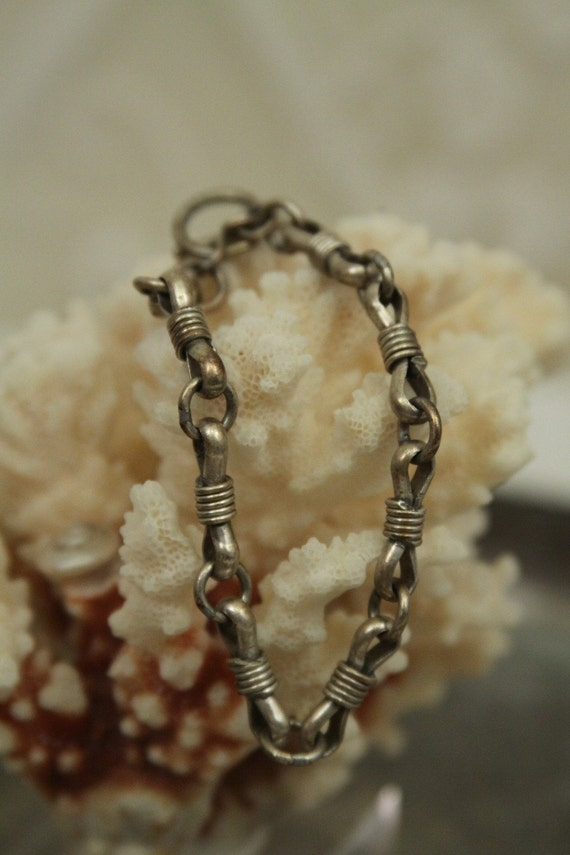 Heavy bracelet - chain link Sterling Silver -- handmade artisan jewelry  -- light patina -- toggle closure  FREE SHIPPING SALE