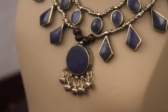 Tribal gyspy necklace -- deep blue lapis lazuli and silver -- gypsy bells -- old Afghan tribal  FREE SHIPPING SALE