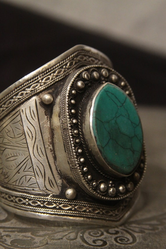 Tribal silver cuff bracelet - old Kuchi jewelry with blue green turquoise - nice patina FREE SHIPPING SALE