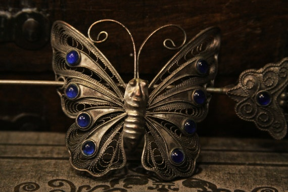 Tribal butterfly hair clip barrette - belly dance gypsy silver and blue hair stick - nice patina -- FREE SHIPPING SALE