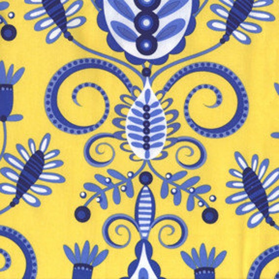 END OF BOLT - Michael Miller Fabric  Large Whimsy Doozie Yellow DC4094