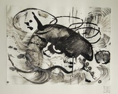 Original Abstract Fine Art Monoprint :  BullsEye