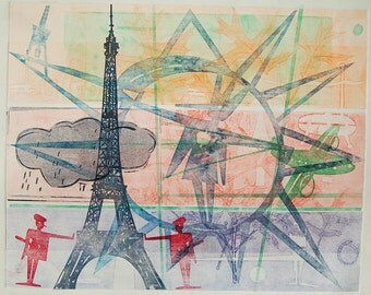 Original Fine Art Monoprint : Unknown French Object (2) - Paris, Rain or Shine