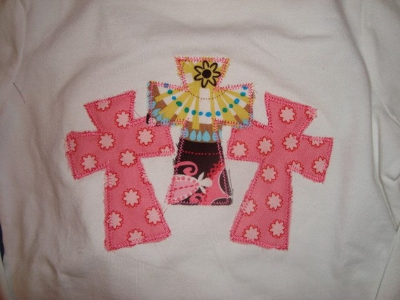 Cross applique t shirt with ribbon loop jeans and matching bow for Applique shirts for sale
