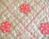 Ultra Plush Cotton Candy Pink Floral Vintage Chenille Fabric 30x22