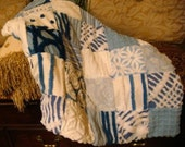 CUSTOM QUILT SAMPLE ~ Little Boy Blue, Sweet, Sleepy You Handmade Vintage Chenille Patchwork Quilt