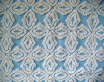 Hofmann Blue Cross Vintage Chenille Bedspread Fabric 12 x 24 Inches