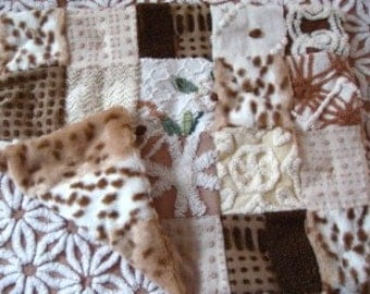 CUSTOM LOVEY SAMPLE - Snow Leopard Minky and Brown Chenille Quilted Lovey