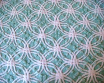 Mint Green Morgan Jones Wedding Ring Pops Vintage Cotton Chenille Bedspread Fabric 12x24 Inches