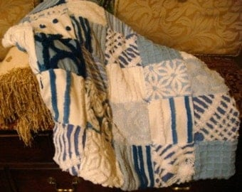 LITTLE BOY BLUE ~ a Made-to-Order Vintage Cotton Chenille Patchwork Quilt