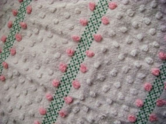 Morgan Jones Sweet Pink and Green Vintage Chenille Fabric