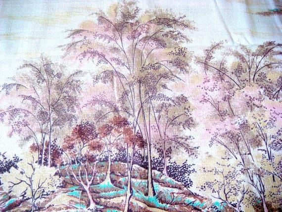 Lovely Impressionist Forest Scene Vintage Barkcloth