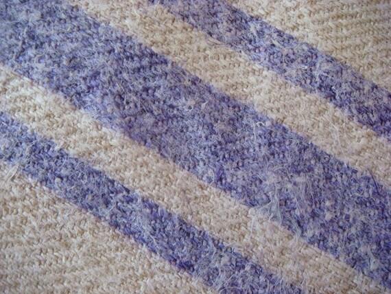 Periwinkle Stripe Linen Hemp Grainsack Antique Handwoven Fabric