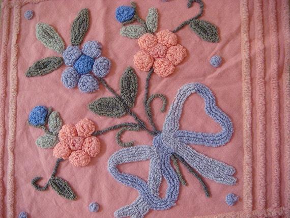 Pink Needletuft Floral Vintage Chenille Bedspread Fabric