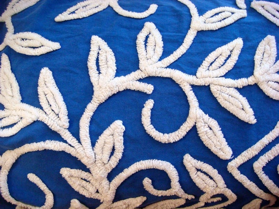 Hofmann Royal Blue Floral Vintage Chenille Bedspread Fabric