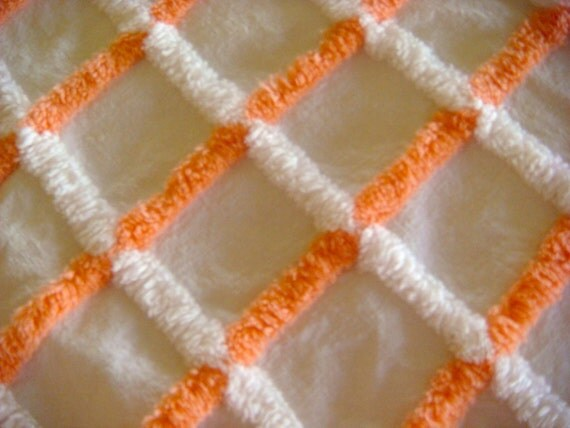 Orange and White Vintage Chenille Fabric 24 x 25 Inches