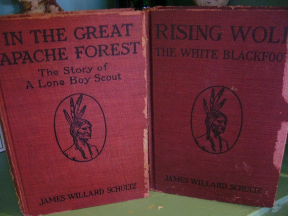 Vintage Book Antique James Willard Schultz//Rising Wolf and In The Great Apache Forest 1920 1919