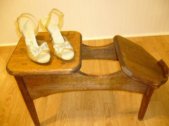Vintage Antique Store Shoe Fitting Stool Handmade With Wooden