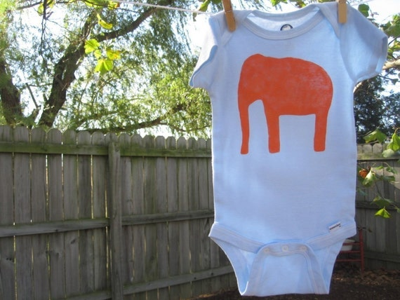 orange elephant baby bodysuit