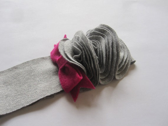 Infant Girl Headband, Grey Band, Trio Of Grey Flower Buds, Raspberry Pink Felt Bow, Photography Prop