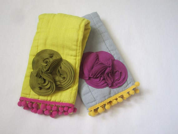 The Fancy Burpie Set, Baby Burpcloth, Embellished, Hand Dyed Cloth Diaper, Knit Fabric Cluster, Mustard Yellow, Plum Raspberry, Girl