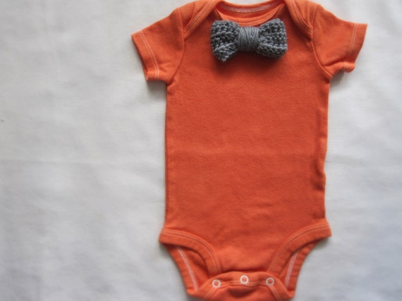 Baby Boy Bodysuit, Grey Bow Tie On Coral Orange, Tuxedo, Hand Dyed, Newborn, Infant