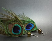 Peacock Feather Earrings with Olive Green Bead
