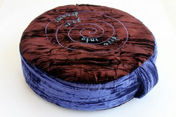 """Zafu / Yoga Floor Cushion - """"dive into your dreams""""  Embroidered Crushed Velvet"""