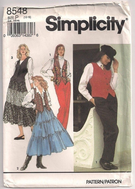 Simplicity 8548 Misses pants three tiered skirt and lined vest pattern Sz 12-16