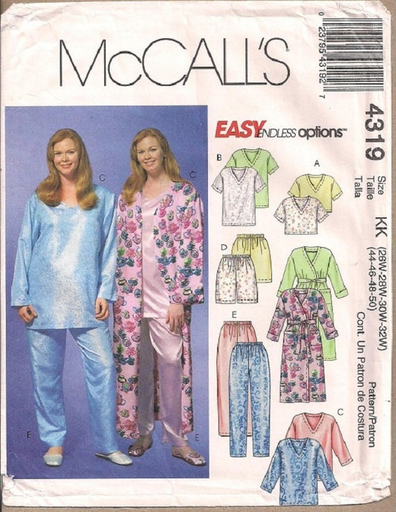 McCalls 2247 Womens robe, tops, shorts and pants sewing pattern Sz 26W-32W
