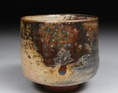 Yunomi Tea Cup Glazed with Shino, Wood Ash and Copper 3 Red Curtain
