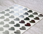 108 Mini Heart Stickers - Silver Foil