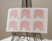 36 Light Pink Mr. Elephant Stickers - Peel and Stick Tags, labels, name tags