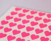108 Mini Neon Pink Heart Stickers