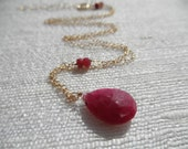 Ruby necklace - gold necklace - gold ruby - A M E L I A 210