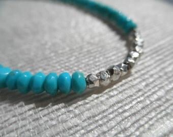 Turquoise bracelet - Silver nugget bracelet - H A L E Y 029