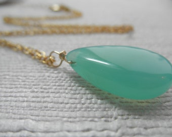 Chalcedony necklace - aqua necklace - green/blue necklace - gold necklace - A M E L I A 119