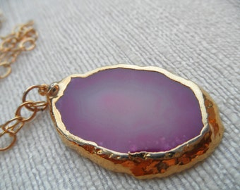Pink and purple agate necklace - gold necklace - pink necklace - agate necklace - D R U Z Y 003