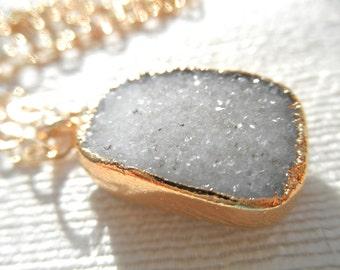 Bright white druzy - druzy necklace - white druzy necklace -- whitest white - gold necklace - druzy and gold - D R U Z Y 151