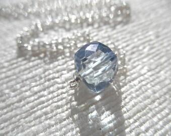 Blue necklace - blue quartz cube necklace - silver necklace - K A T E 083