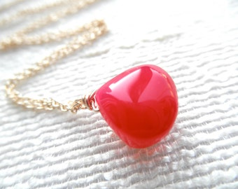 Polished Pink Chalcedony necklace - gold necklace - pink and gold - pink necklace - A M E L I A 103