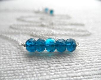 Large apatite rondelle necklace - apatite necklace - silver necklace - K A T E 038