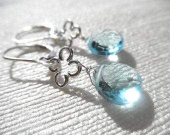 Swiss blue topaz earrings - topaz earrings - blue earrings - clover earrings - silver earrings - E A R R I N G S 143