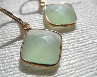 Chalcedony earrings - green earrings - lime green earrings - E A R R I N G S 144